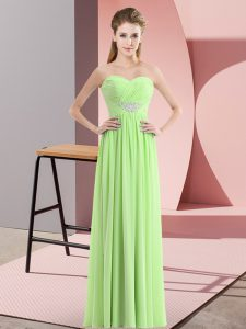 Charming Chiffon Zipper Sweetheart Sleeveless Floor Length Prom Gown Beading