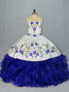 Modest Royal Blue Lace Up Sweetheart Beading and Embroidery 15th Birthday Dress Tulle Sleeveless