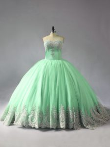 Flirting Sweetheart Sleeveless Tulle Vestidos de Quinceanera Appliques Court Train Lace Up