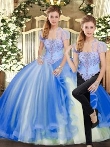Top Selling Floor Length Blue Sweet 16 Dresses Strapless Sleeveless Lace Up