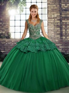 Super Green Sleeveless Beading and Appliques Floor Length Quinceanera Dress