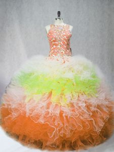 Floor Length Multi-color Sweet 16 Dress Tulle Sleeveless Beading and Ruffles