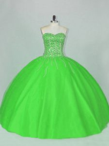 Sweetheart Sleeveless Ball Gown Prom Dress Floor Length Beading Green Tulle