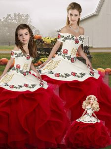 Floor Length White And Red Sweet 16 Dress Off The Shoulder Sleeveless Lace Up