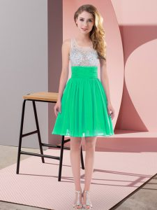 High Quality Scoop Sleeveless Quinceanera Court Dresses Mini Length Beading Turquoise Chiffon