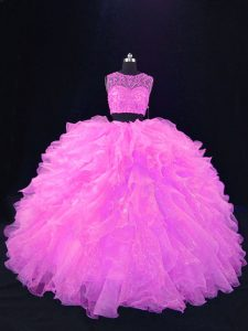 Spectacular Pink Sleeveless Beading and Ruffles Floor Length Quince Ball Gowns