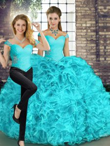 Aqua Blue Two Pieces Beading and Ruffles Quinceanera Dress Lace Up Organza Sleeveless Floor Length