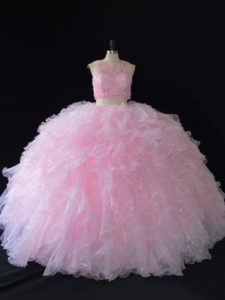 Two Pieces Sweet 16 Dresses Baby Pink Scoop Organza Sleeveless Floor Length Zipper