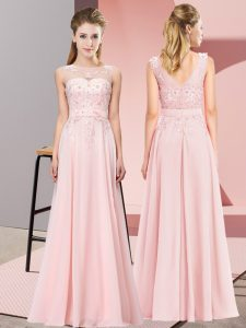 Sleeveless Chiffon Floor Length Zipper Court Dresses for Sweet 16 in Baby Pink with Beading and Appliques