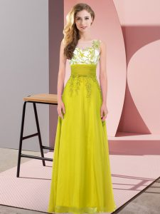 Stunning Olive Green Sleeveless Appliques Floor Length Wedding Party Dress