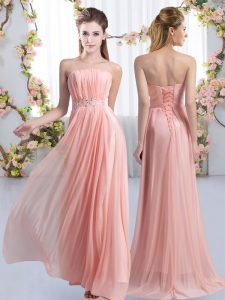 Dynamic Empire Sleeveless Pink Dama Dress for Quinceanera Sweep Train Lace Up