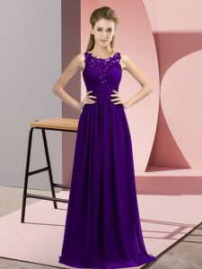 Custom Fit Purple Bridesmaid Gown Wedding Party with Beading and Appliques Scoop Sleeveless Zipper