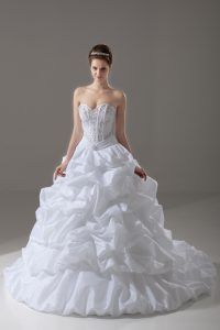 Simple Sweetheart Sleeveless Brush Train Lace Up Wedding Dress White Taffeta
