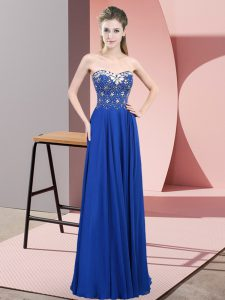 Modern Blue Chiffon Zipper Sweetheart Sleeveless Floor Length Prom Dress Beading