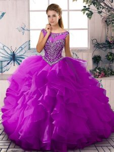 Purple Sleeveless Organza Zipper Ball Gown Prom Dress for Sweet 16 and Quinceanera