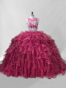 Beading and Ruffles Quince Ball Gowns Hot Pink Zipper Sleeveless Brush Train