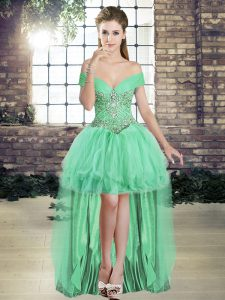 High Low Lace Up Apple Green for Prom and Party with Beading and Ruffles