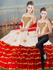 Superior White And Red Lace Up 15 Quinceanera Dress Appliques and Ruffled Layers Sleeveless Floor Length
