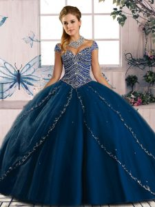 Colorful Blue Cap Sleeves Tulle Brush Train Lace Up Quinceanera Gowns for Sweet 16 and Quinceanera