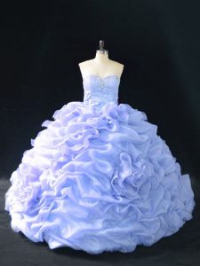 Glittering Organza Sweetheart Sleeveless Court Train Lace Up Embroidery and Pick Ups and Hand Made Flower Quince Ball Gowns in Lavender