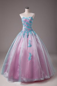 Light Blue Ball Gowns Organza Sweetheart Sleeveless Appliques Floor Length Lace Up Ball Gown Prom Dress