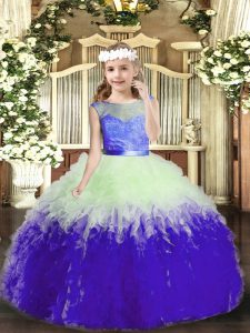 Lovely Multi-color Scoop Neckline Lace and Ruffles Pageant Dress for Teens Sleeveless Backless
