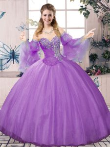 Lavender Long Sleeves Tulle Lace Up Quinceanera Gown for Sweet 16 and Quinceanera