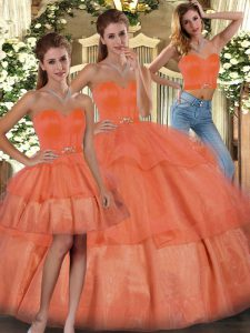 Edgy Ruffled Layers Sweet 16 Dresses Orange Lace Up Sleeveless Floor Length