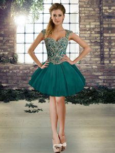 Custom Designed Straps Sleeveless Prom Gown Mini Length Beading Dark Green Tulle