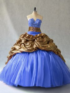 Best Selling Sleeveless Organza and Printed Brush Train Lace Up Sweet 16 Dresses in Blue with Beading and Pick Ups