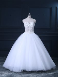 Exquisite Sweetheart Sleeveless Tulle Wedding Gown Beading Brush Train Lace Up