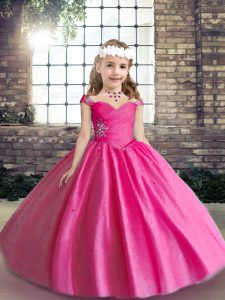 Hot Pink Straps Neckline Beading Little Girls Pageant Gowns Sleeveless Lace Up