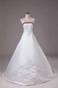 White Sleeveless Brush Train Beading and Embroidery Wedding Dress