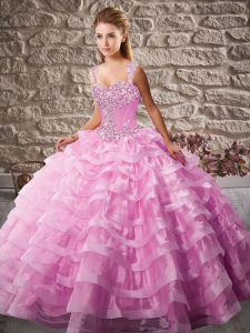 Enchanting Pink Organza Lace Up Straps Sleeveless Floor Length Quinceanera Dress Court Train Beading and Ruffled Layers