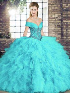 Shining Aqua Blue Lace Up 15 Quinceanera Dress Beading and Ruffles Sleeveless Floor Length