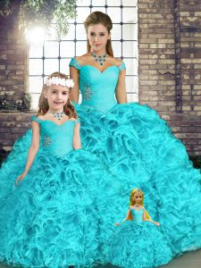 Floor Length Aqua Blue Quinceanera Dresses Off The Shoulder Sleeveless Lace Up