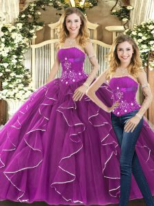 Smart Sleeveless Tulle Lace Up Sweet 16 Dress in Purple with Beading and Ruffles