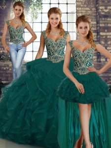 Sleeveless Tulle Floor Length Lace Up 15 Quinceanera Dress in Peacock Green with Beading and Ruffles