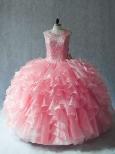 Customized Pink Sleeveless Organza Lace Up Quinceanera Dress for Sweet 16 and Quinceanera