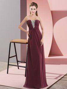 Beauteous Floor Length Zipper Prom Party Dress Burgundy for Prom and Party with Beading
