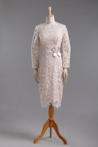 High-neck Long Sleeves Dress for Prom Tea Length Lace and Belt Champagne Lace