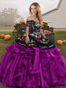 Embroidery and Ruffles Sweet 16 Dress Black And Purple Lace Up Sleeveless Floor Length