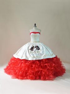 White And Red Sleeveless Brush Train Embroidery and Ruffles Floor Length 15 Quinceanera Dress