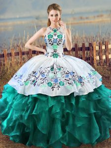 Turquoise Quinceanera Gowns Sweet 16 and Quinceanera with Embroidery and Ruffles Halter Top Sleeveless Lace Up
