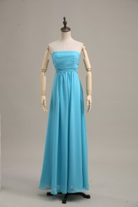 Sleeveless Floor Length Ruching Zipper Prom Dresses with Baby Blue