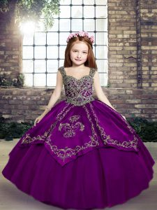 Eggplant Purple and Purple Tulle Lace Up Pageant Dress for Womens Sleeveless Floor Length Embroidery