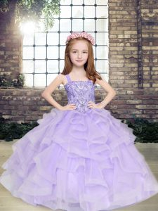 Sweet Straps Sleeveless Lace Up Winning Pageant Gowns Lavender Tulle