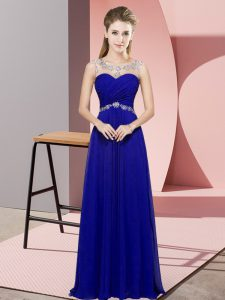Modern Blue Empire Chiffon Scoop Sleeveless Beading Floor Length Backless Pageant Dress for Teens