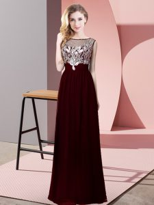 Extravagant Burgundy Empire Chiffon Scoop Sleeveless Beading Floor Length Backless Prom Dress