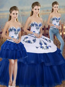 Deluxe Embroidery and Bowknot Sweet 16 Dresses Royal Blue Lace Up Sleeveless Floor Length